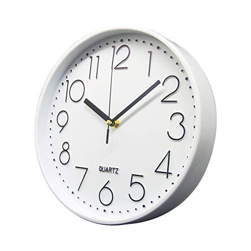 Delgeo Reloj de Pared, Moderno decoración de Pared, Reloj de Pared silencioso para decoración del hogar, Oficina, Cocina (30 cm), Color Blanco