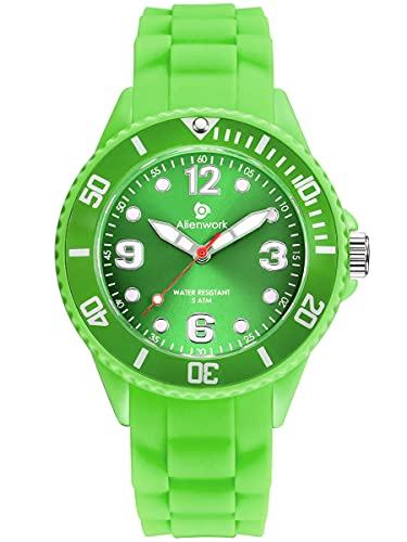 Alienwork Reloj de Aprendizaje Infantil Niño Niña Verde Pulsera de Silicona niños Mujer Impermeable 5 ATM