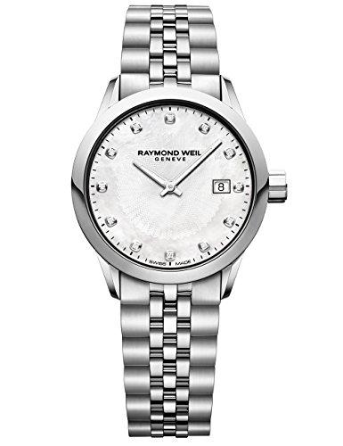 Raymond Weil Reloj de cuarzo para mujer 5629-ST-97081 Freelancer para mujer con visualización analógica, color plateado