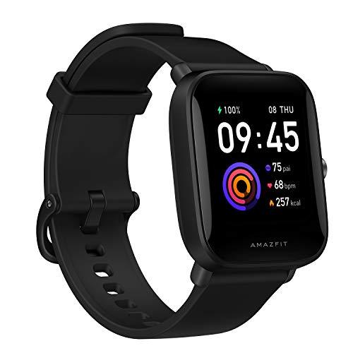 Amazfit Bip U Smartwatch Fitness Reloj Inteligente 60+ Modos Deportivos 1.43' Pantalla táctil a Color Grande 5 ATM (SpO2) Oxígeno en Sangre Frecuencia Cardíaca (Negro)