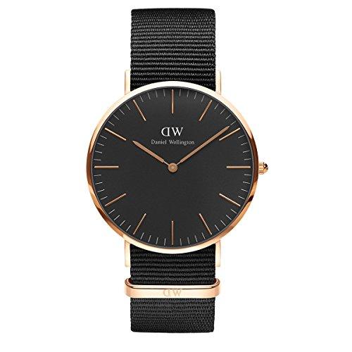 Daniel Wellington Classic Cornwall, Reloj Negro/Oro Rosado, 40mm, NATO, para Hombre