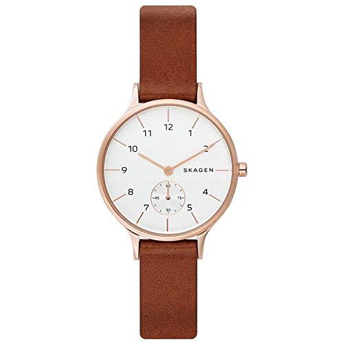 Skagen Anita - Reloj con Banda de Cuero marrón para Mujer - SKW2658