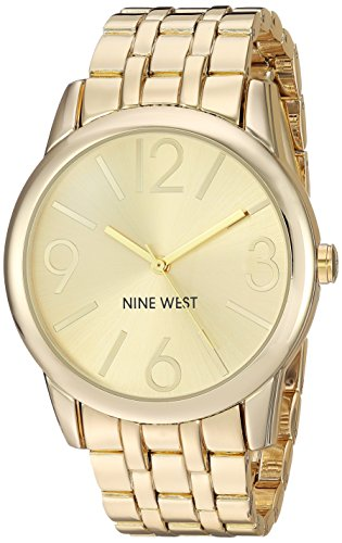 Nine West Mujer Reloj De Cuarzo Dorado con Esfera analógica Pantalla y Pulsera de aleación de Oro NW/1578chgb