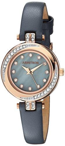 Armitron 75/5542GMRGGY - Reloj de Pulsera con Correa de Piel de Swarovski, Color Rosa y Gris