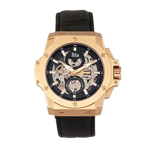 Reign Commodus REIRN4005 - Reloj automático con correa de piel, color oro rosa/negro, talla única