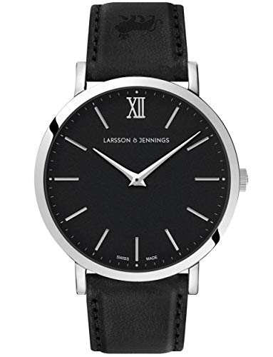 Larsson & Jennings LJXII Lugano Unisex Hombres & Mujer Relojes with 40mm Black dial and Black Leather Strap LX40-LBK-SB.
