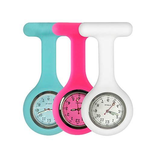 Groupcow - Reloj de enfermera, silicona, 3 unidades, color práctico