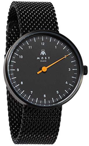 MAST MILANO Reloj de Hombre monoaguja Ultra Slim (Negro/Negro Malla Milanesa)
