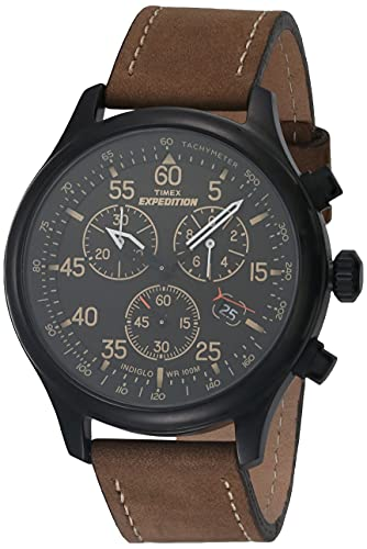 Timex Expedition Rugged - Reloj análogico de cuarzo con correa de cuero para hombre, color marrón