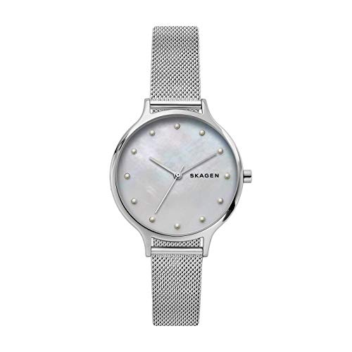 Skagen Anita - Reloj de malla de acero con tono plateado, Color Madreperla - SKW2775