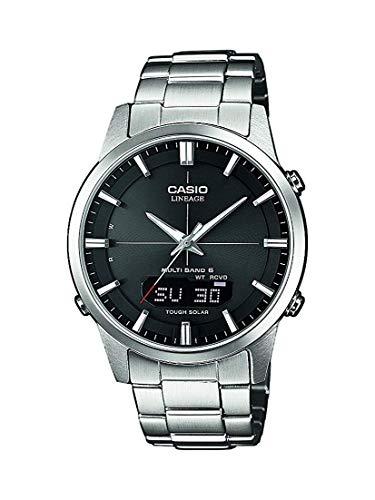 Casio WAVE CEPTOR Reloj Radiocontrolado y solar, Cristal de zafiro, Caja sólida, Negro, para Hombre, con Correa de Acero inoxidable macizo, LCW-M170D-1AER