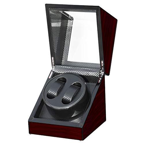 Feibrand Enrollador Caja de Reloj Automático Caja de Relojes Giratoria Caja de Relojes Mecánicos de Madera de Cuerda Automática Display de Almacenamiento con Motor Silencioso para 2 Relojes