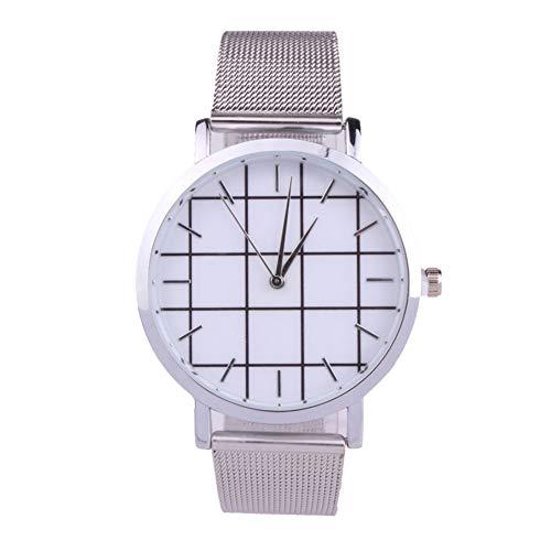 La moda de los hombres s reloj de diseño clásico duradero de aleación de correa de malla ultrafina de cuarzo reloj de pulsera con una función de Plata de la batería