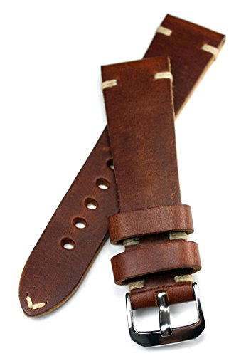 Rios Correa de piel con costuras en blanco 22 mm / 18 mm, aspecto retro, tira de calidad, color marrón, calidad máxima