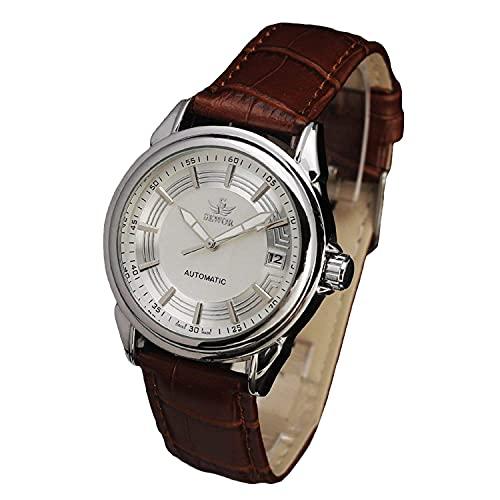 SEWOR reloj para hombre automático mecánico reloj de cuarzo día resistente al agua banda de cuero reloj de pulsera marrón