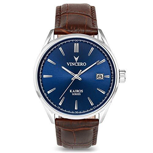 Reloj de Pulsera Kairos Caballero Vincero — Reloj con Disco Azul y Correa de Cuero Marrón – Reloj Analógico de 42mm – Movimiento de Cuarzo Japonés
