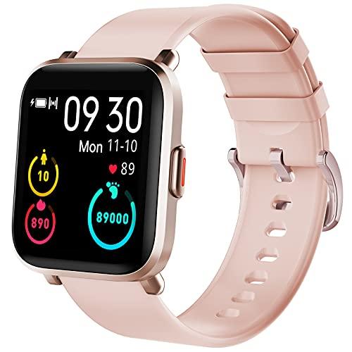 KUNGIX Smartwatch, Reloj Inteligente Mujer Hombre Niños 18 Modos Deportivos, Fitness Tracker Ultrafinos con Monitor de Sueño Caloría Pulsómetros, Pulsera Actividad Impermeable IP68 para Android iOS
