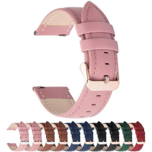 Fullmosa Colores para Correa de Reloj, Cross Piel Correa Huawei Samsung Correa/Banda/Band/Pulsera/Strap de Recambio/Reemplazo 14mm 16mm 18mm 20mm 22mm 24mm,Rosa 18mm
