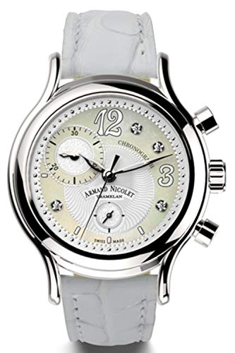 Reloj armand nicolet al3 a884aaa-an-p882bc8 cronógrafo Cuarzo Reloj para Mujer Analógico de Cuarzo Suizo con Brazalete de Piel de Vaca A884AAA-AN-P882BC8