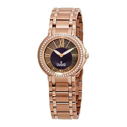 Charmex Malibu 6422 - Reloj de pulsera para mujer, esfera de nácar con cristales, color marrón