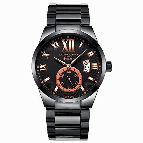 Anthony James Vintage | Diseñador de hombres de acero inoxidable relojes hombres de lujo a prueba de agua Calendario de fecha reloj de cuarzo analógico Gents Sports Business vestido de reloj