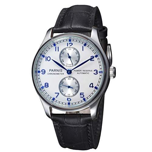 CursOnline - Reloj de pulsera clásico para hombre original Parnis PN860 Caliber correa auténtica piel negra movimiento automático Seagull y función Power Reserve. Caja y garantía.