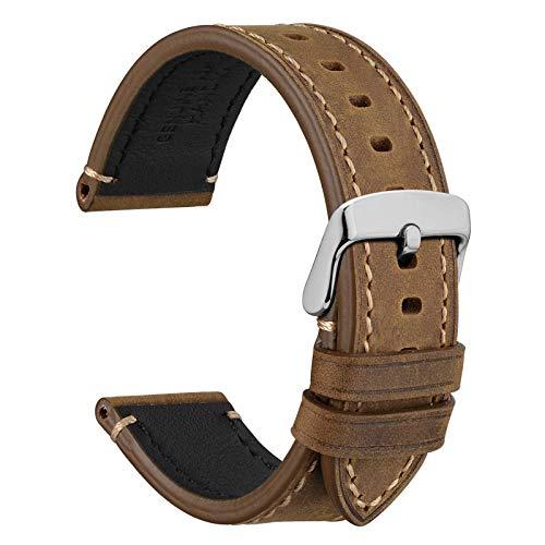 WOCCI 22mm Business Style Correa de Reloj de Cuero con Hebilla Plateada (Caqui)