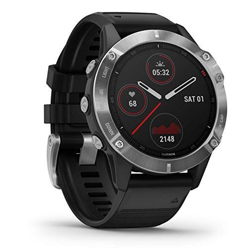 Garmin fēnix 6 - Reloj GPS multideporte definitivo con sensores, VO2 Max, frecuencia cardíaca, carga de entrenamiento, Plateado con correa negra