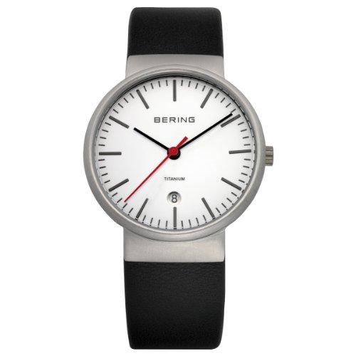 BERING Reloj Analógico Titanium Collection para Unisex de Cuarzo con Correa en Cuero y Cristal de Zafiro 11036-404