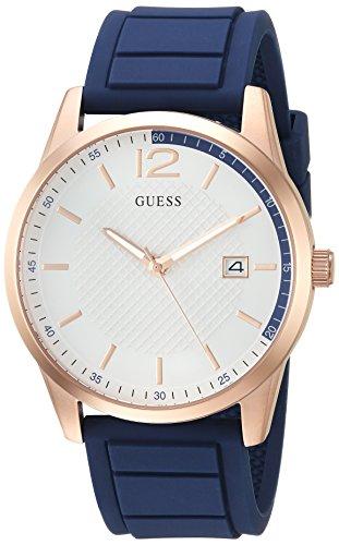 Guess - Reloj de acero inoxidable para hombre, diseño informal con correa de silicona