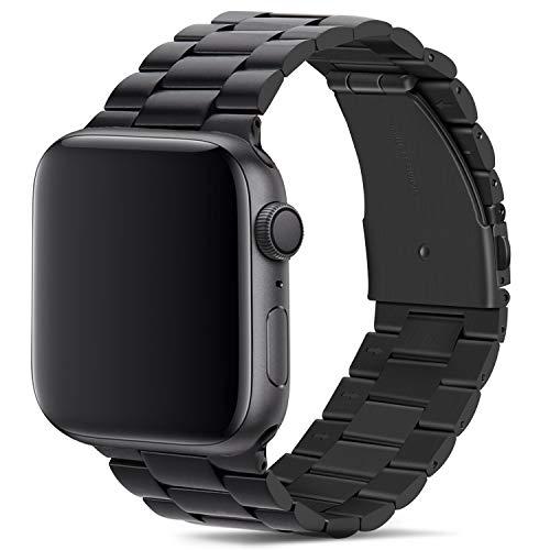 Tasikar para Correa Apple Watch 42mm 44mm 45mm Metal de Acero Inoxidable Correa de Repuesto Compatible con Apple Watch Series 7 (45mm) SE Series 6 5 4 (44mm) Series 3 2 1 (42mm)- Negro