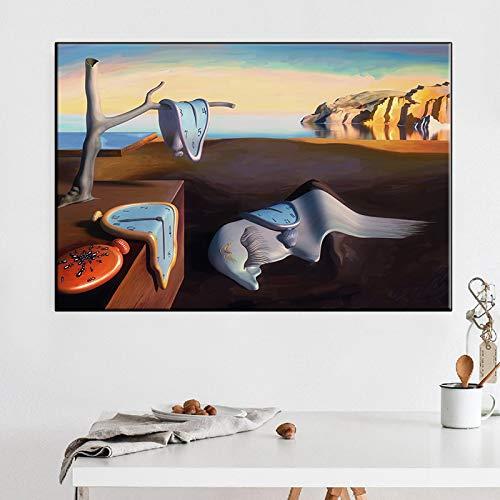 Lienzos enmarcados en la pared, pósters e impresiones La memoria eterna de Salvador Dalí.Réplicas de playa y reloj imágenes de decoración del hogar 40x90cm (16x35in) con marco