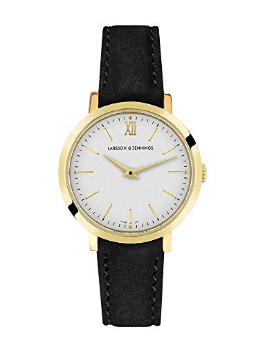 Larsson & Jennings LJXII Lugano Unisex Hombres & Mujer Relojes with 26mm Gold/Satin White Dial and Black Leather Strap LX26-LBK-GW.