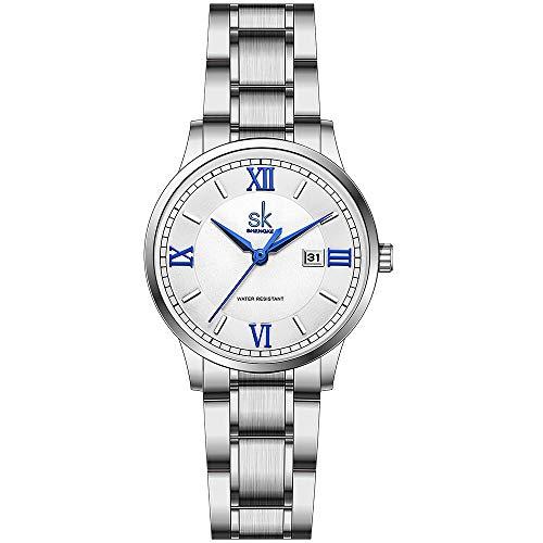 SK Relojes lassic Business para Mujer con Correa de Acero Inoxidable y Elegante Reloj con Calendario para Mujer(Roman Number-Silver Steel Band)