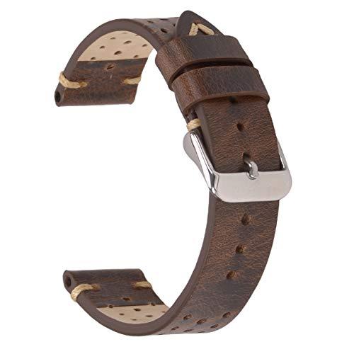 Correas de Reloj de Cuero de 22 mm, Correas de Reloj Perforadas EACHE Bandas de Reloj Perforadas Hechas a Mano Retro Marr¨n