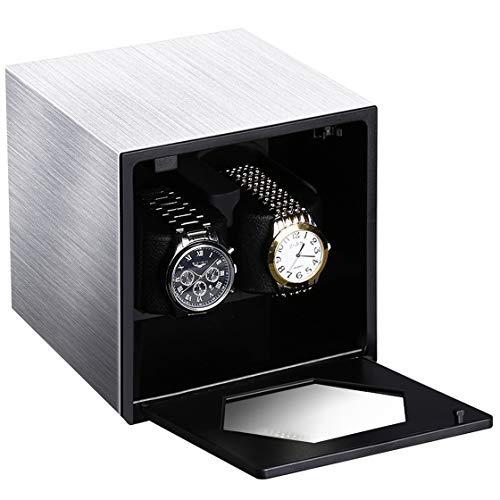 CRITIRON Watch Winder, Caja Giratora 2+0, Caja para Relojes Automáticos, Motor de Calidad y Silencioso, 4 Modos de Rotación, Plata