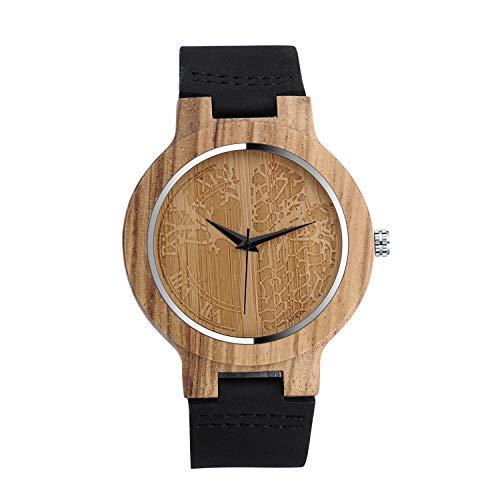 Unendlich U-Moda Reloj de Madera de Bambú para Mujer y Hombre Reloj de Cuarzo con la Correa de Cuero Genuino Idea Regalo Navidad Pareja Diseño Árbol de la Vida
