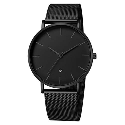 MICGIGI Minimalista Reloj de pulsera de cuarzo analógico Reloj de acero inoxidable para hombres
