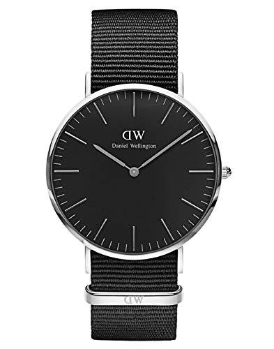 Daniel Wellington Classic Cornwall, Reloj Negro/Plateado, 40mm, NATO, para Hombre