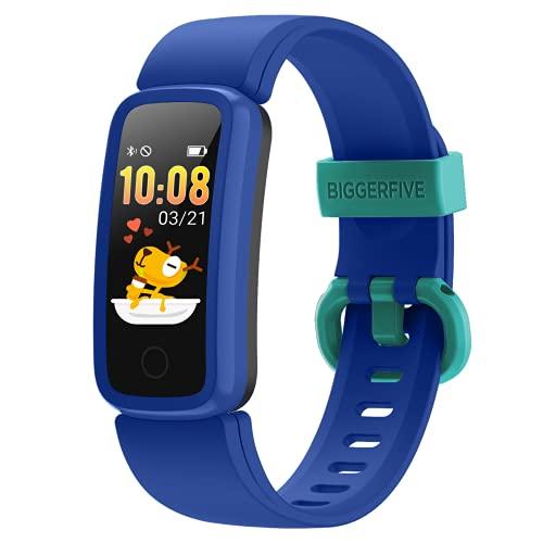 BIGGERFIVE Vigor Pulsera Actividad Inteligente Reloj Inteligente para Niños Niñas, Impermeable IP68 Deportivo Smartwatch con Podómetro Pulsómetros Monitor de Sueño Contador de Caloría