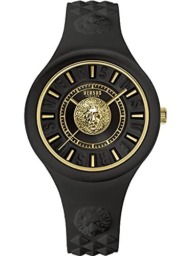 Versus Versace Fire Island - Reloj de pulsera para mujer, 39 mm, correa de silicona, color negro y dorado