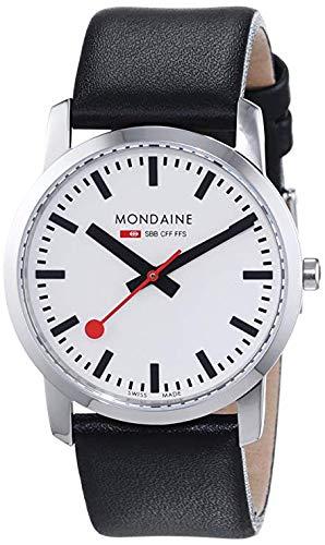 Mondaine SBB Simply Elegant 36mm A400.30351.11SBB Reloj de pulsera Cuarzo Unisex correa de Cuero Negro