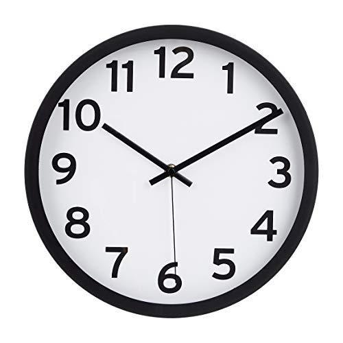 Amazon Basics - Reloj de pared con números, 30,5 cm, negro