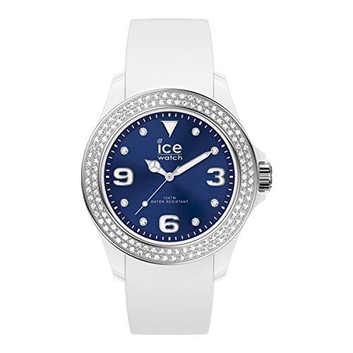 ICE-WATCH ICE Star White Deep Blue - Reloj Blanco para Mujer con Correa de Silicona, 017235 (Medium)