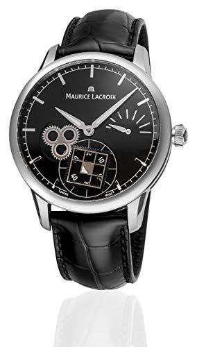 Maurice Lacroix Masterpiece Square Wheel Classic Hombre Negro Dial Reserva de marcha Mecánica Reloj de fabricación suiza MP7158-SS001-301