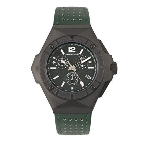 Morphic Reloj cronógrafo serie M55 con correa de cuero con fecha, verde/verde, MPH5505