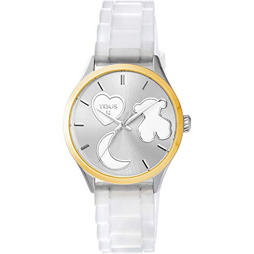 Reloj Tous Sweet Power de acero IP dorado con correa de silicona blanca Ref:800350750