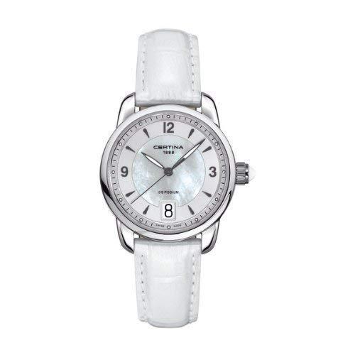 Certina - Reloj Analógico de Cuarzo para Mujer, Correa de Acero Inoxidable Color Blanco
