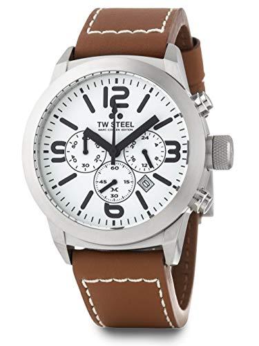 Reloj TW Steel Marc Coblen Edition cronómetro, con correa de piel, 42mm, color blanco y marrón, TWMC10