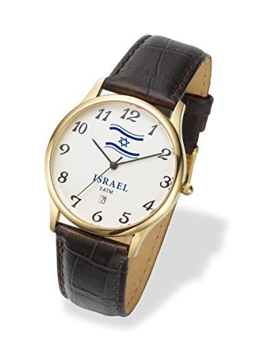 Adi reloj israelíes Judaica con bandera de Israel, piel, resistente al agua 3ATM, reloj de pulsera.